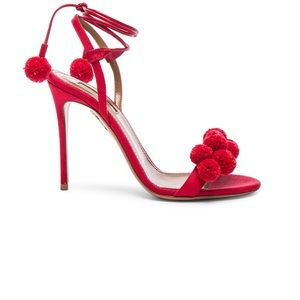Aquazzura Red Pom Pom sandal